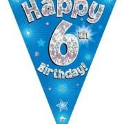 Vimpel 3,9m 6 Happy birthday Holo.blå