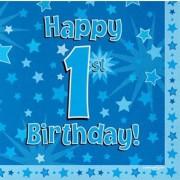 Servetter 33x33cm 16p Blue 1 Birthday