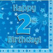 Servetter 33x33cm 16p Blue 2 Birthday