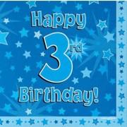 Servetter 33x33cm 16p Blue 3 Birthday
