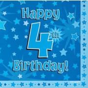 Servetter 33x33cm 16p Blue 4 Birthday