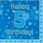 Servetter 33x33cm 16p Blue 5 Birthday