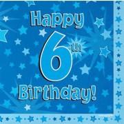 Servetter 33x33cm 16p Blue 6 Birthday