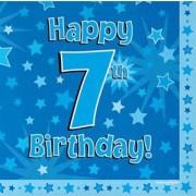 Servetter 33x33cm 16p Blue 7 Birthday