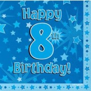 Servetter 33x33cm 16p Blue 8 Birthday