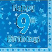 Servetter 33x33cm 16p Blue 9 Birthday