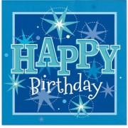 Servetter 33x33cm 20p Sparkle blue Happy birthday