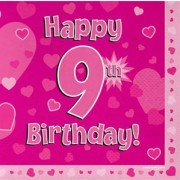Servetter 33x33cm 16p Pink 9 Birthday