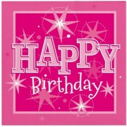 Servetter 33x33cm 20p Sparkle pink Happy birthday