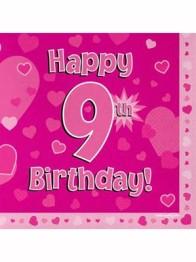 Servetter 33x33cm 16p Pink 9 Birthday -
