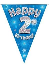 Vimpel 3,9m 2 Happy birthday Holo.blå -