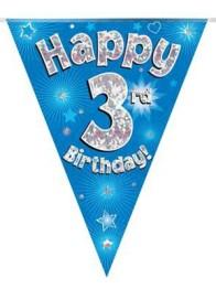 Vimpel 3,9m 3 Happy birthday Holo.blå -