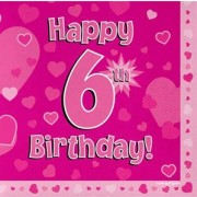 Servetter 33x33cm 16p Pink 6 Birthday