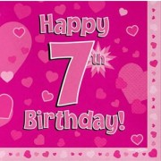 Servetter 33x33cm 16p Pink 7 Birthday