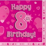 Servetter 33x33cm 16p Pink 8 Birthday