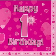 Servetter 33x33cm 16p Pink 1 Birthday