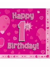 Servetter 33x33cm 16p Pink 1 Birthday -