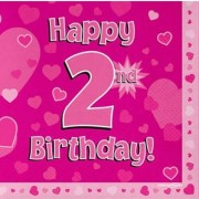 Servetter 33x33cm 16p Pink 2 Birthday