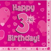 Servetter 33x33cm 16p Pink 3 Birthday