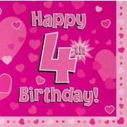 Servetter 33x33cm 16p Pink 4 Birthday