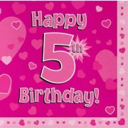 Servetter 33x33cm 16p Pink 5 Birthday