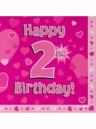 Servetter 33x33cm 16p Pink 2 Birthday -
