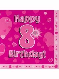 Servetter 33x33cm 16p Pink 8 Birthday -