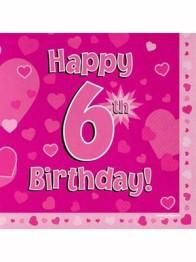 Servetter 33x33cm 16p Pink 6 Birthday -