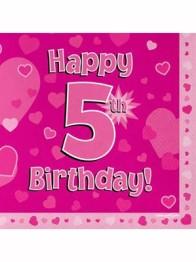 Servetter 33x33cm 16p Pink 5 Birthday -