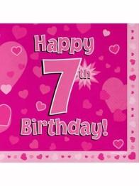 Servetter 33x33cm 16p Pink 7 Birthday -