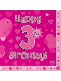 Servetter 33x33cm 16p Pink 3 Birthday -