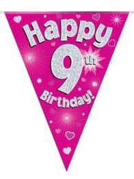 Vimpel 3,9m 9 Happy birthday Holo.rosa -