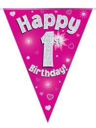 Vimpel 3,9m 1 Happy birthday Holo.rosa -