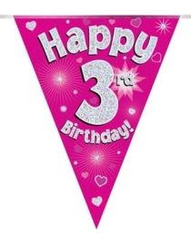 Vimpel 3,9m 3 Happy birthday Holo.rosa -