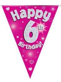 Vimpel 3,9m 6 Happy birthday Holo.rosa -