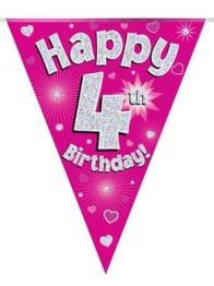 Vimpel 3,9m 4 Happy birthday Holo.rosa -