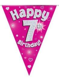 Vimpel 3,9m 7 Happy birthday Holo.rosa -