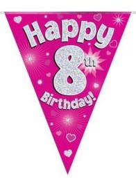 Vimpel 3,9m 8 Happy birthday Holo.rosa -