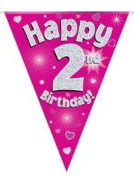 Vimpel 3,9m 2 Happy birthday Holo.rosa -