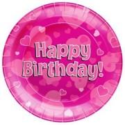 Papperstallrikar 23cm 8p Hearts pink Happy birthday