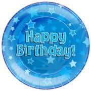 Papperstallrikar 23cm 8p Stars blue Happy birthday
