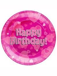 Papperstallrikar 23cm 8p Hearts pink Happy birthday -