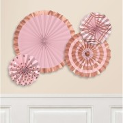Rose gold 4p Paper fan decorations