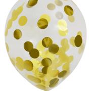 Konfettiballonger 30cm 6p metallic guld