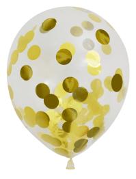 Konfettiballonger 30cm 6p metallic guld -