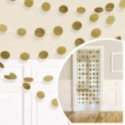 Pappersgirlanger 6p 2,13m guld/glitter cirklar