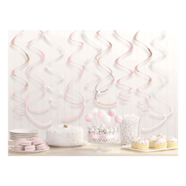 Swirl dekoration 12st Rosé/guld/vit -