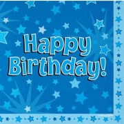 Servetter 33x33cm 16p Stars blue happy birthday