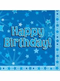 Servetter 33x33cm 16p Stars blue happy birthday -