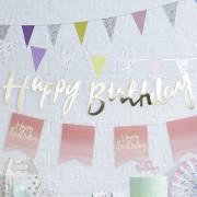 Banner 1,5m Guld Happy birthday